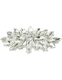 Pretty 5cm Crystal Diamante Sparkly Round Flower Starburst Lapel Brooch G0Qdn
