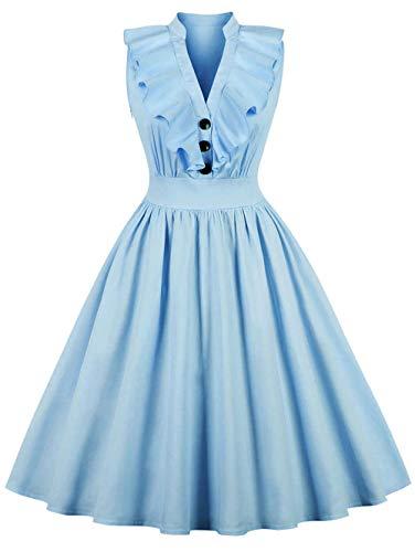 jx-dress Kleid einfarbig Rüschen Hemd Retro Groß XL Damen Süße Jugend Süße Jugend