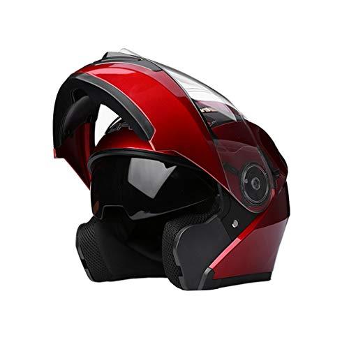 YUEMS Aufdeckender Sturzhelm HD Anti-Fog-Spiegel-Motorrad-voller Sturzhelm Multifunktions-männlicher überlegener Schutz (Farbe : Rot)