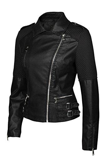 Trisens Damen Jacke Biker KURZ Motorrad Jacke Kunstleder PU, Farbe:Schwarz, Größe:S - 2