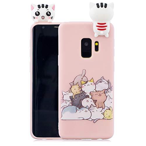 Rose-Otter Kompatibel für Samsung Galaxy A6 2018 Hülle Handyhülle Silikon TPU Ultra Dünn Slim Stoßfest Bumper Schutzhülle Tasche Case Cover mit 3D Muster - Katze + Pink