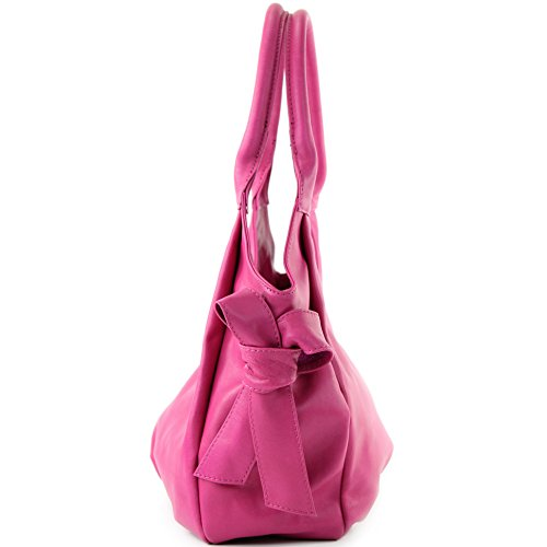 modamoda de - ital. Ledertasche Damenhandtasche Schultertasche Damentasche Nappaleder IT28 Pink