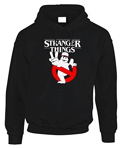 Felpa con cappuccio Stranger Things - Ghostbusters parody - Stranger Things 2 - serie tv - in cotone Nero