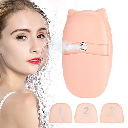 Spruzzatore facciale nano, umidificatore facciale mini nano spray, attrezzatura di bellezza portatile, vaporizzatore idratante viso, con USB(Rosa)