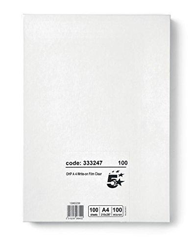 5 Star OHP-Folie zum Beschreiben 85 Mikron A4 durchsichtig 100 Stück -