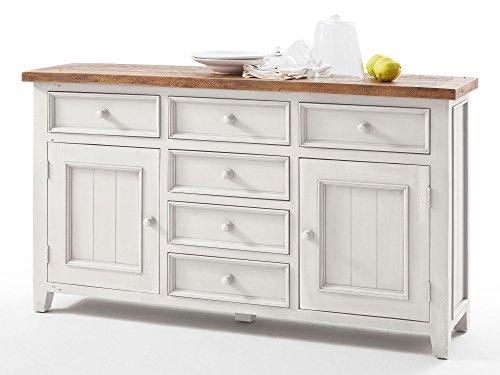 Honig Eiche Buffet (Sideboard weiß Holz Landhaus Byron)