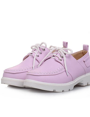 ZQ Scarpe Donna - Stringate - Ufficio e lavoro / Formale - Punta arrotondata - Basso - Finta pelle - Blu / Rosa / Viola / Beige , purple-us10.5 / eu42 / uk8.5 / cn43 , purple-us10.5 / eu42 / uk8.5 / c blue-us7.5 / eu38 / uk5.5 / cn38