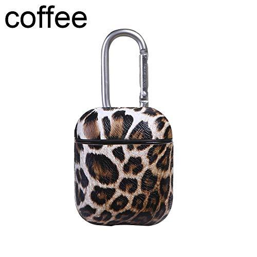 Dreameryoly - Custodia in Pelle per Auricolari Airpods, Senza Fili, Bluetooth, con Gancio, Motivo Leopardato Kaffee.