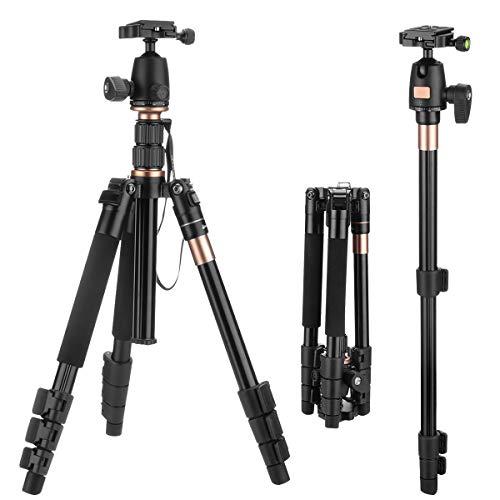 """SAWAKE Kamera Stativ für Sony Alpha 6300/ Nikon Spiegelreflexkamera/ Olympus Kamera usw., mit Panoramakugelkopf/ Schnellwechselplatte/ Tasche (Aluminium, 1,3 KG 55,12\""""/140 cm, bis 10KG Belastbarkeit)"""