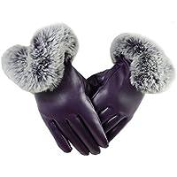 QHGstore 1 paio di guanti di cuoio del Faux delle donne autunno inverno caldo della pelliccia del coniglio Mittens Viola