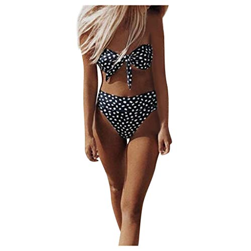 MERICAL Damen Einteiliger Badeanzug Neckholder Schwimmanzug Bedruckter V-Ausschnitt Rückenfrei Hohe Taille Gepolstert