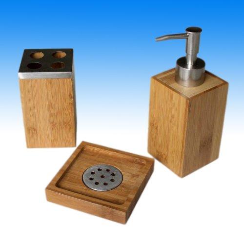 Seifenspender, Seifenschale, Zahnbürstenhalter aus Bambus - 3er Set