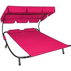 TecTake Tumbona de jardín con parasol y 2 cojines | 2 plazas | diferentes colores (Rosa | no. 401498)