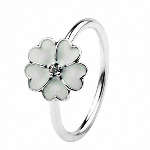 TAOTAOHAS Anillos Mujer Plata de ley [flor de cerezo,] Talla 14 con el Cristal