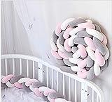 YIKANWEN Bettumrandung, Baby Nestchen Bettumrandung Weben Kantenschut Kopfschutz Stoßfänger Dekoration für Krippe Kinderbett,Länge 2M (Grau+Weiß+Rosa)
