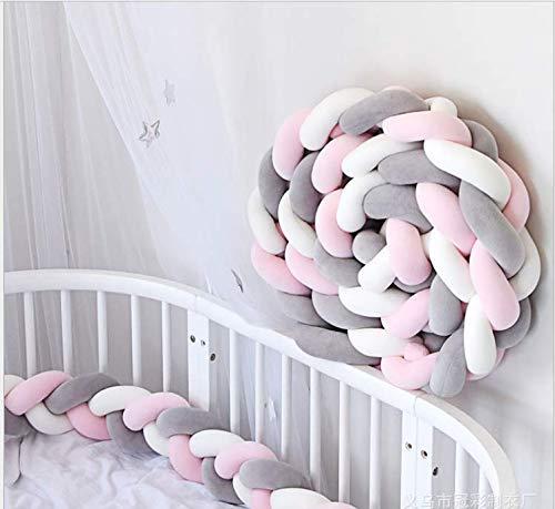 YIKANWEN Bettumrandung, Baby Nestchen Bettumrandung Weben Kantenschut Kopfschutz Stoßfänger Dekoration für Krippe Kinderbett,Länge 2M (Grau+Weiß+Rosa) -