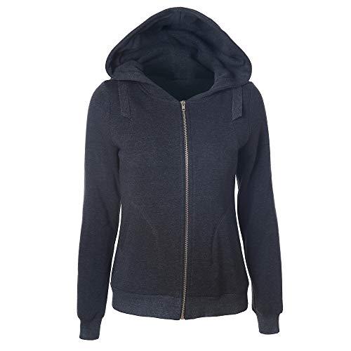 388628cf92d2 Hoodies Kolylong Damen Elegant Einfarbig Jacke mit Kapuze Herbst Winter Warm  Reißverschluss Mantel Dicker Hoodie Sport Outwear Kapuzejacke Sweatjacke ...