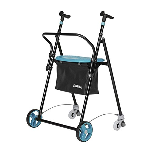 Andador para ancianos | De hierro plegable | Con frenos traseros| Con cesta asiento y respaldo | Color esmeralda