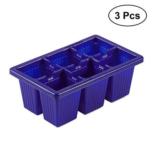 Ounona Lot de 12 graines de Germoir bac à semis Starter plateaux 6 cellules par bac pour plantes grower (Bleu)