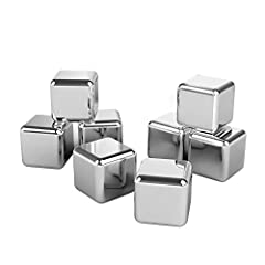 Idea Regalo - TaoTronics Cubo Ghiaccio Whisky Stones Set da 8 Cubetti Refrigeranti Riutilizzabili in Acciaio Inox (Senza BPA, Pinze con Punte in Gomma, Vassoio con Coperchio Certificato FDA)