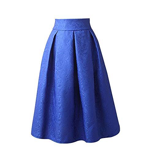 WOZOW Damen Kurz Kleid Solid Einfarbig Eine Linie Prägung Stickerei Rose Elegant Party Vielseitige Dehnbaren Informell Skater Rock Abendkleid (XL =EU:38-40,Blau)