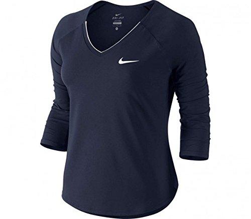 Nike Damen Shirt Pure Top 34 XS Negro/Blanco (Obsidian/White/White)