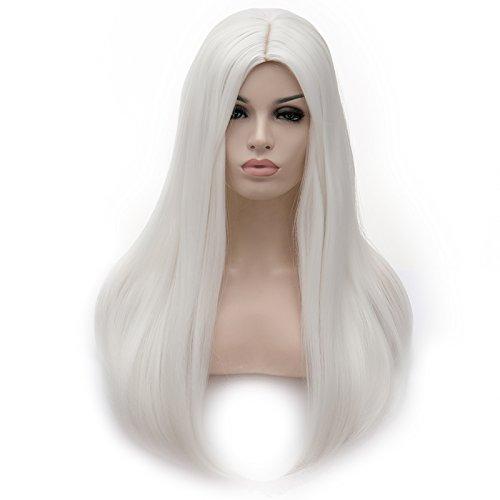 Tsnomore lange gerade silberne weiße Cosplay Perücke 23 Zoll für das tägliche Leben Frauen (Lange Perücke Silberne)