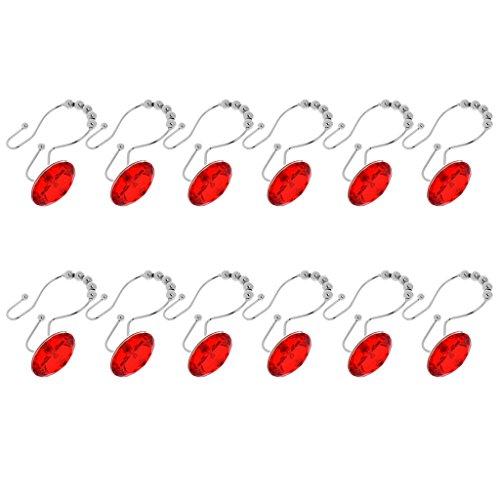 n 12 Vorhang Haken Doppel Gleiten Dusche Haken Ringe aus Edelstahl - Rot (Seashell Dusche Vorhang Haken)