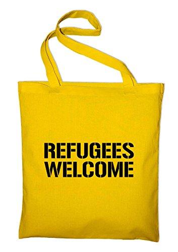 #2 Refugees Welcome Jutebeutel, Beutel, Stoffbeutel, Baumwolltasche, light grey Gelb