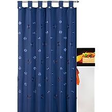 Cortina de baño bordada con trabillas Camelia 35%algodón 65%poliéster - 140x200 - Azul