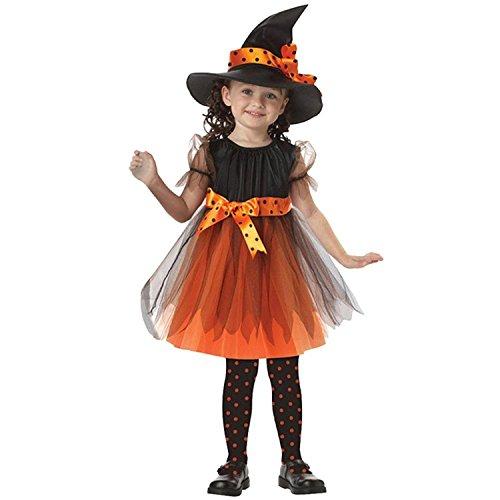 Rojeam Mädchen Kinder Hexe Kostüm Zubehör Fairy Halloween Cosplay Partei Abendkleid Halloween Kostüm (2-15 Jahre (Halloween Jahre Kostüme 2 Alt)