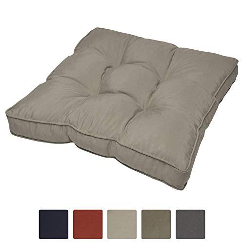 Beautissu Flair Lounge Outdoor Kissen wasserabweisend Sitzkissen Grau 60x60x10 cm Kissen für draußen Polster für Rattan und Gartenmöbel