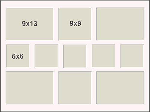 Passepartout mit 11 unterschiedliche Ausschnitte 4x 9x13 rechteckig 2x 9x9 und 5x 6x6 quadratisch...
