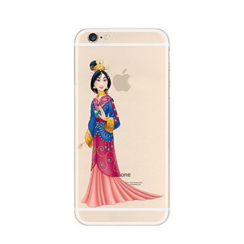 Ronney's Coque transparente en polyuréthane pour iPhone 4, 4s, 5, 5s, 5C, 6s, 6Plus ou 6s Plus Motif princesses Disney