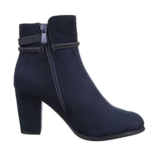 Damen Schuhe, ZH673, STIEFELETTEN BOOTS MIT DEKO Dunkelblau