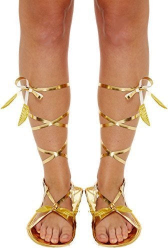 Damen Gold Römisch Griechisch Gladiator Krawatte Kostüm Kleid Outfit Flache Sandale Zubehör - Gold, Eine Größe für (Gladiator Sandalen Kostüme)