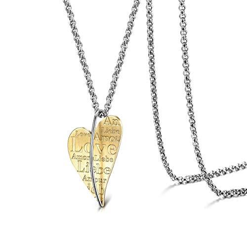 WISTIC Halskette Damen Herz Anhänger Edelstahl Liebe Geschenke Frau Freundin Tochter Mutter Schmuck Gold (Gold)