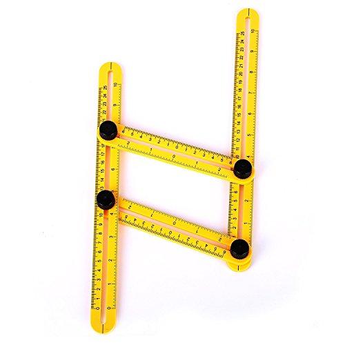 Kaifang multi-angle Règle, mesure et outil de modèle Flexible quatre pliante Plastique Règle Règle métrique pratique Angleizer Instrument pour les Constructeurs Artisans Tilers Établis charpentier couvreur (longueur: 30cm)