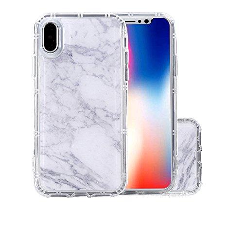 BSLVWG Coque iPhone X, Coque iPhone 10, Marbre Clair Design Motif Transparente Arrière avec TPU Bumper Gel Coque de Protection Pour iPhone X/iPhone 10(blanc)