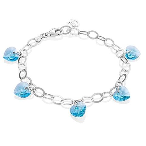 LillyMarie Damen Armband Sterlingsilber 925 original Swarovski Edelsteine Kristall Herzen hellblau längen-verstellbar Geschenkverpackung, Geschenk Freundin