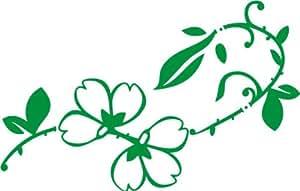 INDIGOS UG - WANDTATTOO / Wandsticker / Wandaufkleber / Aufkleber f68 sehr hübsches Blümchen mit stylischen Verzierungen 96x61 cm - grün