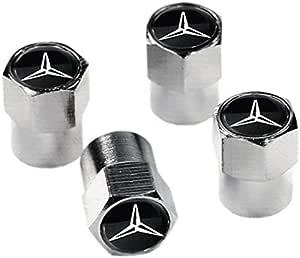 Emarkooz Ventilkappen Staubkappen Für Reifen Silber Mit Schwarz Silbernem Emblem Passend Für Mercedes Räder Auto