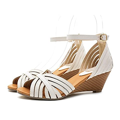 Women's Ankle Wrap Open Toe Buckle Cover Heel Platform Casual Sandals White / US 5.5