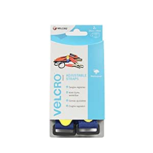 VELCRO Brand All Purpose Straps, 25 mm x 46 cm - Blue, Pack of 2