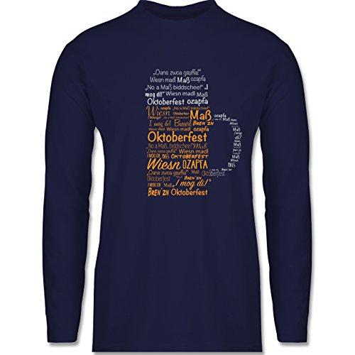 Shirtracer Oktoberfest Herren - Oktoberfest Maß - Herren Langarmshirt Navy  Blau