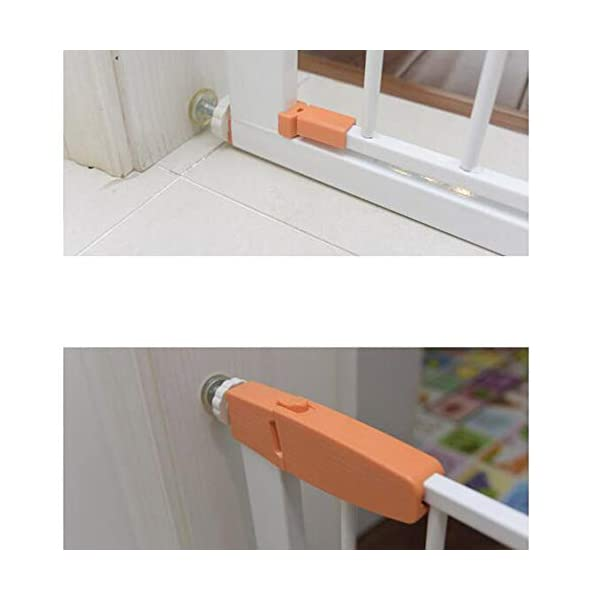 Pet fence safety door guardrail baby pole corridor stairs balcony cat and dog pet isolation gate AA-SS-Safety Door ♥Squeeze and lift handle for easy one handed adult opening ♥Quick-release fittings for removal when not required ♥Includes stop pins for mounting at the top of stairs 5