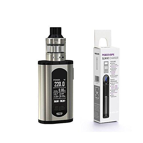 Auténtico Eleaf INVOKE Cigarrillo electrónico 220W ELLO T Tangue Kit (Plata) con Bono cargador de batería 18650 USB PEACEVAPE Sin Tabaco y Sin Nicotina