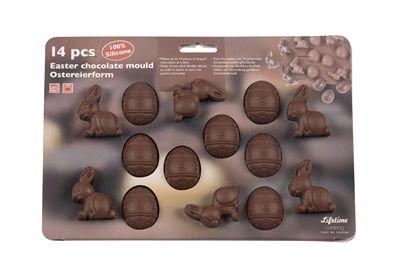Stampo in silicone per ovetti e coniglietti di Pasqua al cioccolato. Comprende 14 formine antidarente tutte da infornare e gustare
