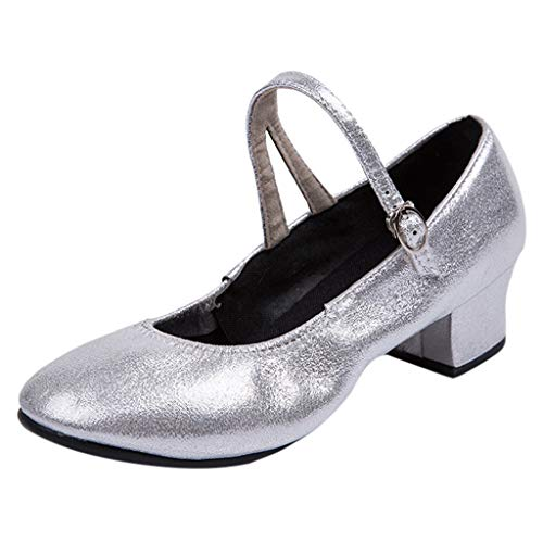 Latinschuhe für Damen/Dorical Frauen Geschlossen Zehen High Heel Tango Ballsaal Latin Schnalle Ankle Tanzschuhe Abendschuhe,Weiche Sohle Ausverkauf(Silber,39 EU)