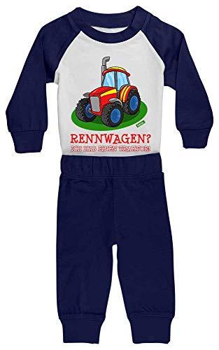 HARIZ Baby Pyjama Rennwagen Ich Hab Einen Traktor Fahrzeuge Traktor Inkl. Geschenk Karte Weiß/Navy Blau 24-36 Monate
